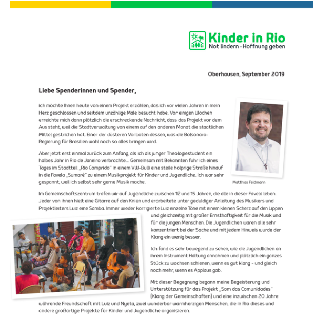 Kinder in Rio Herbstbrief 2019